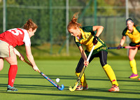 Anna May Whelan and Steph Thompson battle for the ball